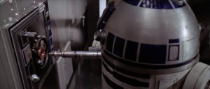 .R2-D2 plugging in